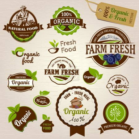 Illustration for Organic labels ad badges - Royalty Free Image