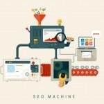 Website SEO machine, process of optimization. Flat...