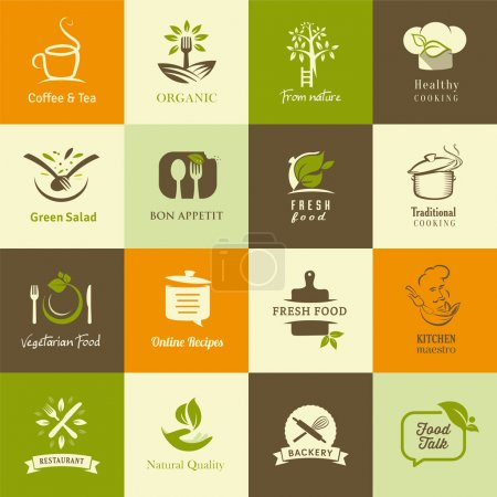 Set of icons for organic and vegetarian food, cooking and restaurants