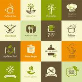 Sada ikon pro organické a vegetariánská jídla, vaření a restaurace