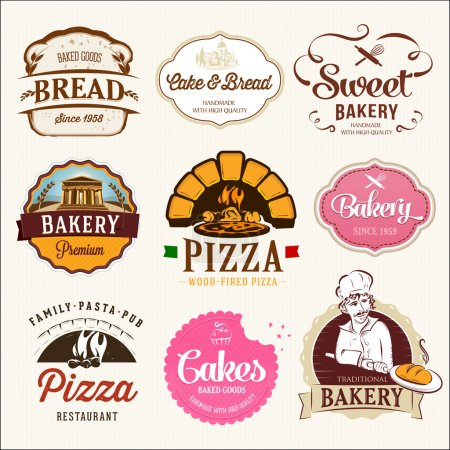 Illustration pour Collection d'insignes et étiquettes de CUISINE, CAKES et PIZZA. Design de style rétro . - image libre de droit