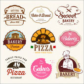 Collection of  BAKERY CAKES and PIZZA  badges and labels Retro style design