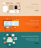 Flat Design Concept Icons and banners for  branding web design and  service and maintenance