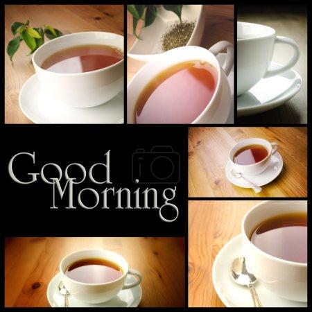 Photo pour Tasse de thé sur un fond en bois avec espace copie - image libre de droit