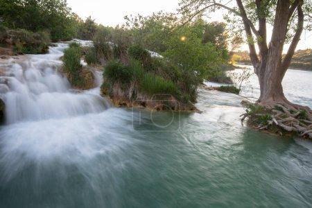 Photo for Waterfall near Salvadora lagoon, Ruidera Natural Park (Spain) - Royalty Free Image