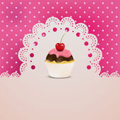 Cupcake on a lace and silk pink table cloth