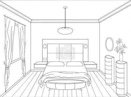 Illustration for Graphical hand drawing interior. Bedroom. - Royalty Free Image