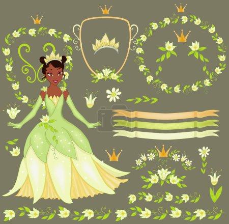 Vector set floral elegant frame. Princesse Tiana.