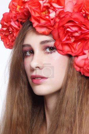 Girl in floral headband
