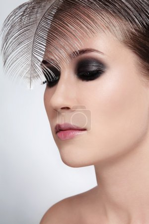 Woman with smokey eyes