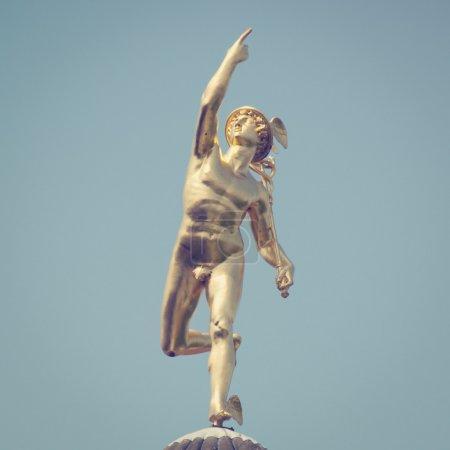 Roman God Mercury with retro style effect...