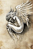 Sketch of tattoo art, heaven angel with wings