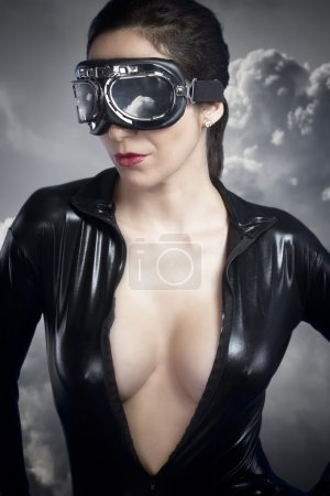 Aviator girl with black leather jacket