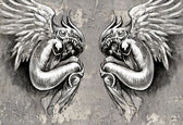 Sketch of tattoo art, two angels, fantasy concept over wall