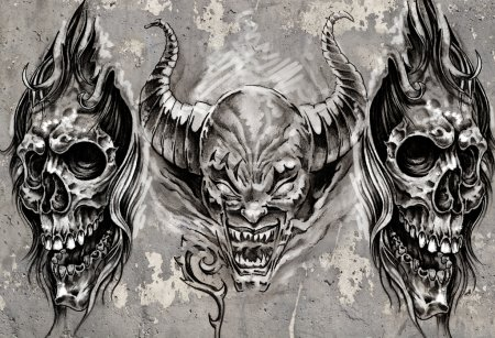 Photo for Tattoo art, 3 demons over grey background, Sketch - Royalty Free Image