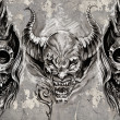 Tattoo art, 3 demons over grey background, Sketch...