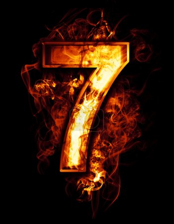 Photo for Seven, illustration of number with chrome effects and red fire on black background - Royalty Free Image