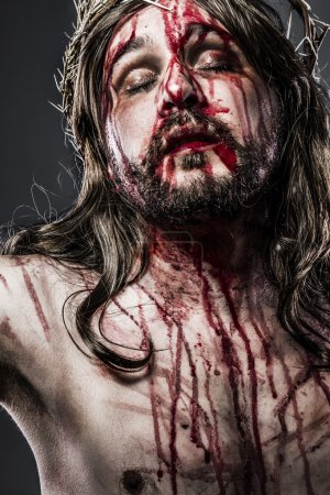 Photo for Jesus Christ with crown of thorns, passion concept - Royalty Free Image