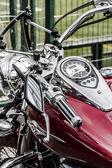 Motorbikes chromed engine. Bikes in a street