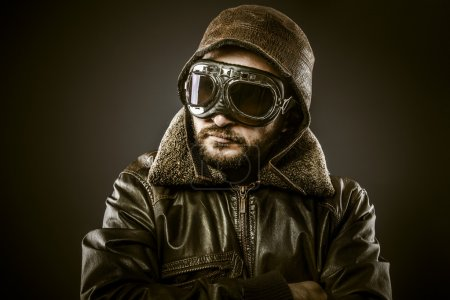 Fighter pilot with hat and glasses era, vintage