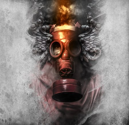 Toxic. A man in a gas mask in the smoke. artistic ...
