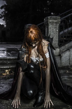 Sadness, Under the storm, Beautiful vampire woman in palace gate
