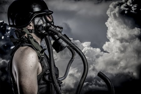 Nuclear disaster, man with gas mask, protection