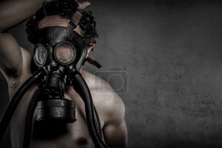 Pollution, nuclear disaster, man with gas mask, protection