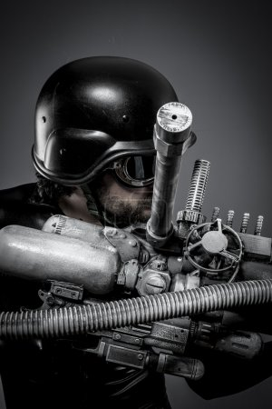 Starfighter with huge plasma rifle