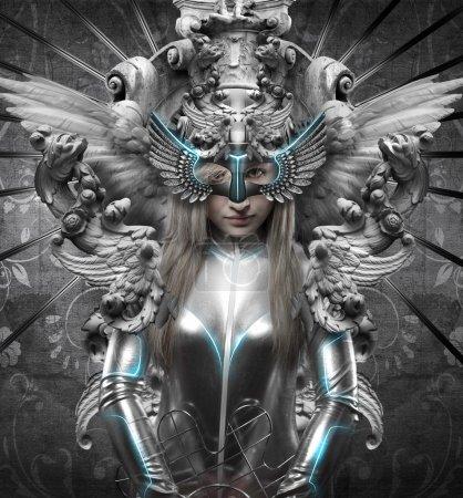 Deity, dressed in silver princess, fantasy concept...