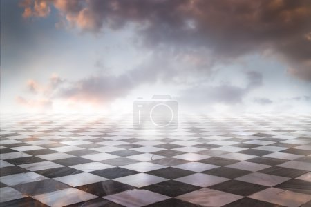 Gamero chess, pieces marble floor