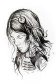 American indian woman head, sketch of tattoo
