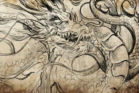Japanese dragon Tattoo sketch