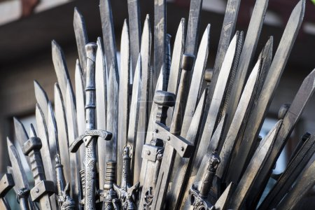 Throne made of swords in a medieval fair