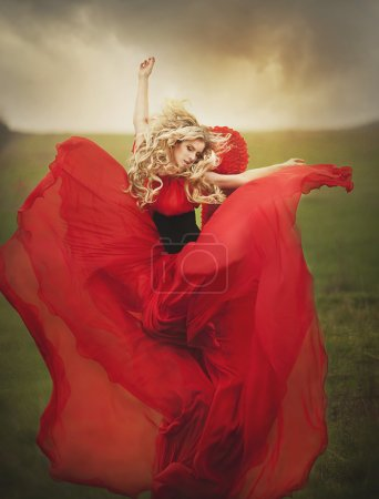 Photo for Angel lady in red dress posing in fairy summer park - Royalty Free Image