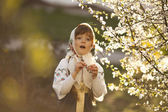 Little girl in Russian traditional dress