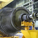 Industrial steam turbine at the workshop...