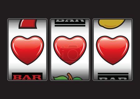 Illustration pour Gagnant triple coeurs à la machine à sous - image libre de droit