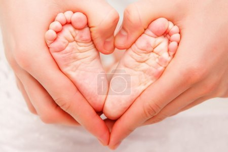 Photo for Baby's feet in mom's palms - Royalty Free Image