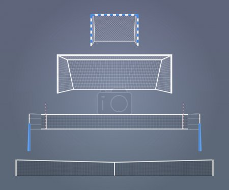 Illustration pour Ensemble des modèles d'équipement spors réalistes vectoriels. La taille relative des portes et des filets dans différents sports . - image libre de droit