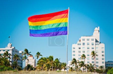 Photo for Rainbow Gay Pride Flag, Miami Beach, Florida, USA - Royalty Free Image