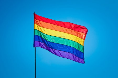 Photo for Rainbow Gay Pride Flag on blue sky background - Royalty Free Image