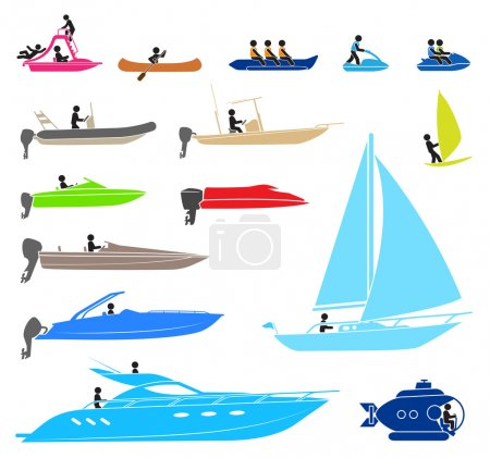 Illustration for Pictograms representing on different types of boat - Royalty Free Image