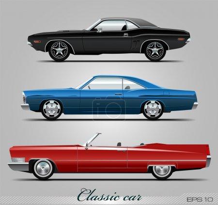 Ilustración de Colección de coches clásicos, vectorial eps 10 - Imagen libre de derechos
