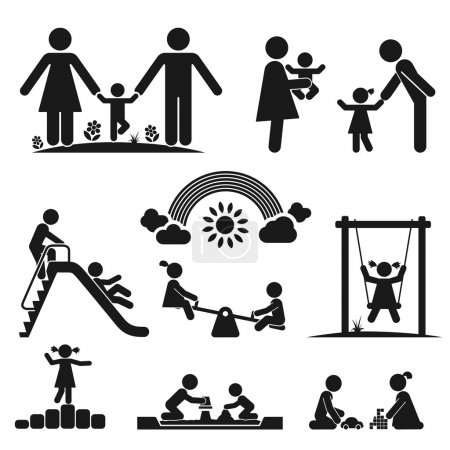 Illustration for Children play on playground. Pictogram icon set - Royalty Free Image