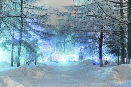 Paysage nocturne en ville d'hiver