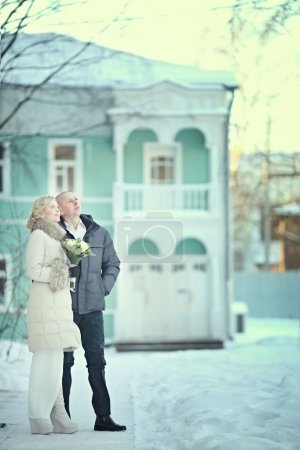 Man and woman. Winter wedding