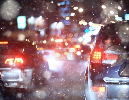 Road in winter night
