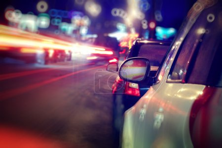 Photo for City car. Traffic jam in night lights - Royalty Free Image