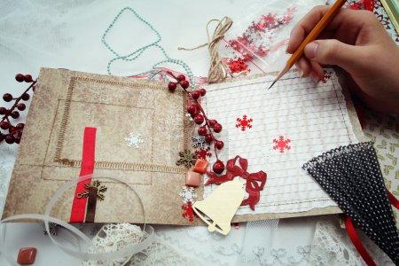 Photo pour Production de cartes de Noël scrapbooking - image libre de droit